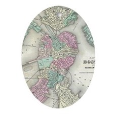 Vintage Map of Boston Harbor (1857) Oval Ornament