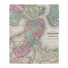 Vintage Map of Boston Harbor (1857) Throw Blanket