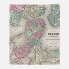 Vintage Map of Boston Harbor (1857) Throw Blanket