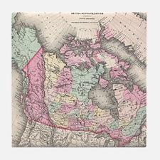 Vintage Map of Canada (1857) Tile Coaster