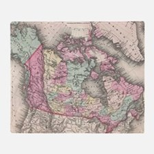 Vintage Map of Canada (1857) Throw Blanket