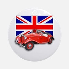 Red MG TD with Union Jack Ornament (Round)