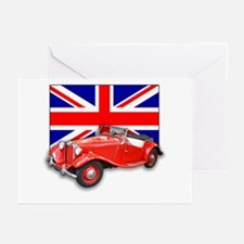 Red MG TD with Union Jack Greeting Cards (Pk of 10