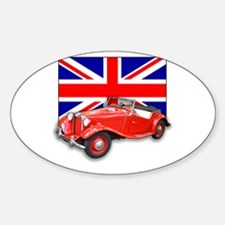Red MG TD with Union Jack Oval Decal
