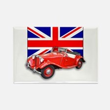 Red MG TD with Union Jack Rectangle Magnet