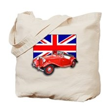 Red MG TD with Union Jack Tote Bag