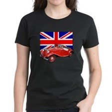 Red MG TD with Union Jack Tee