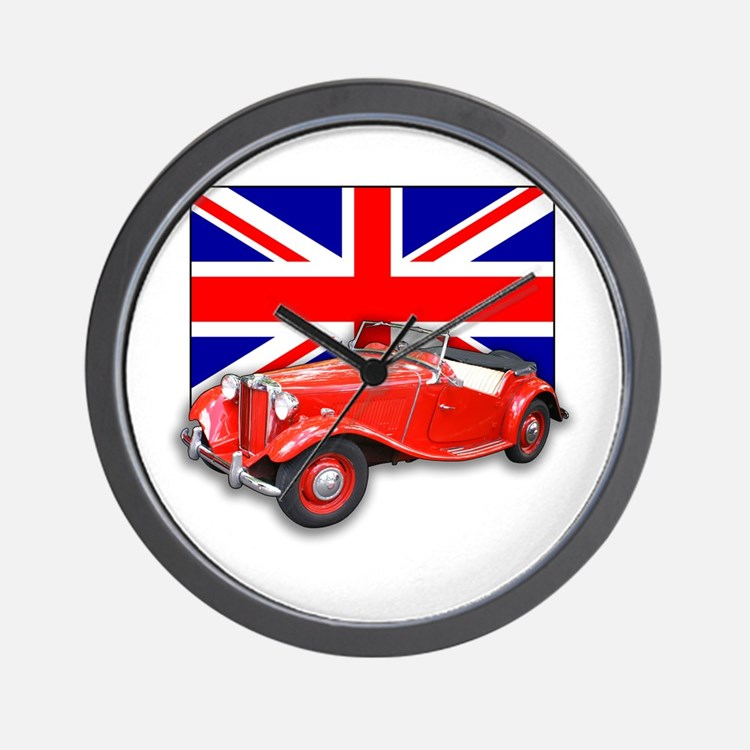Red MG TD with Union Jack Wall Clock