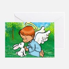 Angel w/Bunny Greeting Card