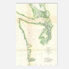 Vintage Map of Coastal Wa Postcards (Package of 8)