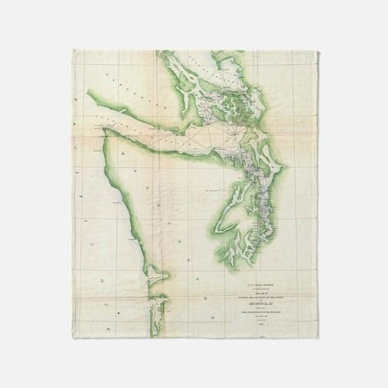 Vintage Map of Coastal Washington St Throw Blanket