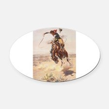 Cute Cowboy Oval Car Magnet
