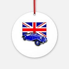 Blue MG TD w Union Jack Ornament (Round)