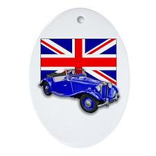 Blue MG TD w Union Jack Oval Ornament