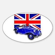 Blue MG TD w Union Jack Oval Decal