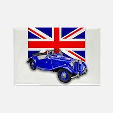Blue MG TD w Union Jack Rectangle Magnet