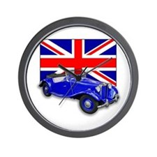 Blue MG TD w Union Jack Wall Clock