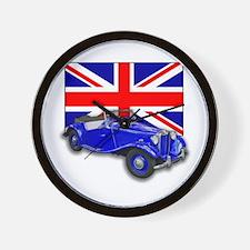 Blue MG TD w Union Jack Wall Clock