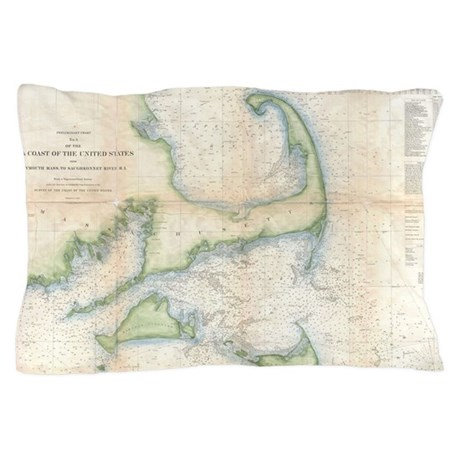 Vintage map of cape cod 1857 pillow case by listing for Case modello cape cod