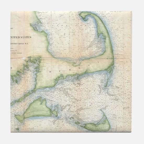 Vintage Map of Cape Cod (1857) Tile Coaster