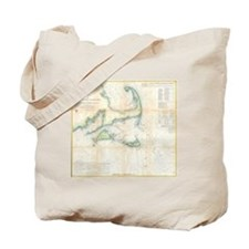 Vintage Map of Cape Cod (1857) Tote Bag