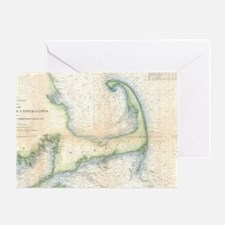Vintage Map of Cape Cod (1857) Greeting Card