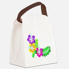 Tropical Hibiscus Canvas Lunch Bag