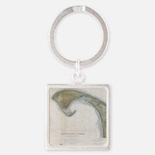 Vintage Map of Provincetown Square Keychain