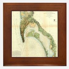 Vintage Map of The San Diego Bay (1857 Framed Tile