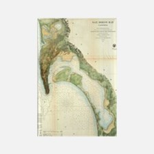 Vintage Map of The San Diego Bay  Rectangle Magnet