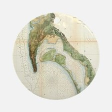 Vintage Map of The San Diego Bay (1 Round Ornament