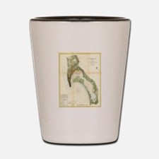 Vintage Map of The San Diego Bay (1857) Shot Glass