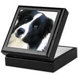 Border collie Square Keepsake Boxes
