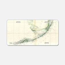 Vintage Map of The Florida  Aluminum License Plate