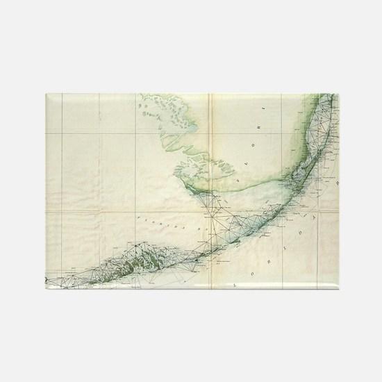Vintage Map of The Florida Keys ( Rectangle Magnet