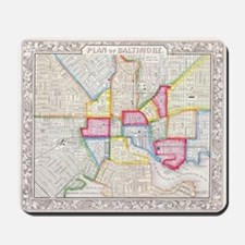 Vintage Map of Downtown Baltimore (1860) Mousepad