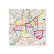 """Vintage Map of Downtown Bal Square Sticker 3"""" x 3"""""""