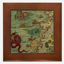 Antique Map Framed Tile