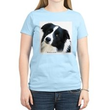 Border Collie Portrait Water Colour Women's Pink T