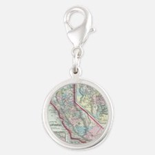 Vintage Map of California (186 Silver Round Charm