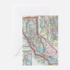 Vintage Map of California (1860) Greeting Card