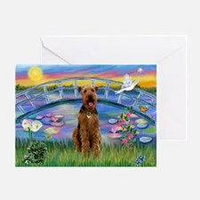 Lilies (JF) & Airedale Greeting Card