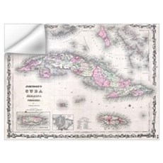Vintage Map of Cuba (1861) Wall Decal