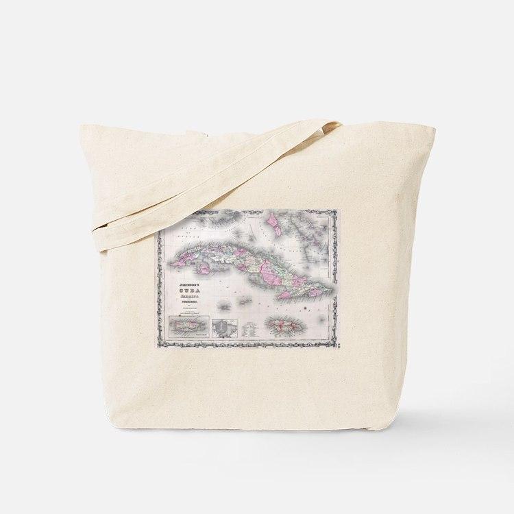 Vintage Map of Cuba (1861) Tote Bag