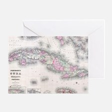 Vintage Map of Cuba (1861) Greeting Card