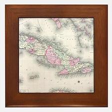 Vintage Map of Cuba (1861) Framed Tile