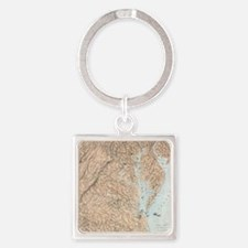 Vintage Map of The Chesapeake Bay  Square Keychain
