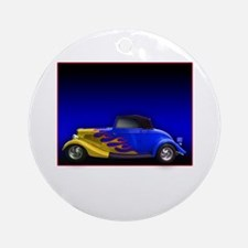 Blue Hot Rod w Flames Ornament (Round)