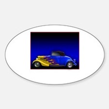 Blue Hot Rod w Flames Oval Decal