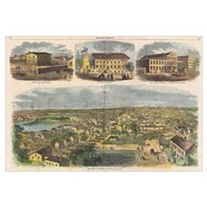 Vintage Pictorial Map of Richmond Virginia (1862) Poster